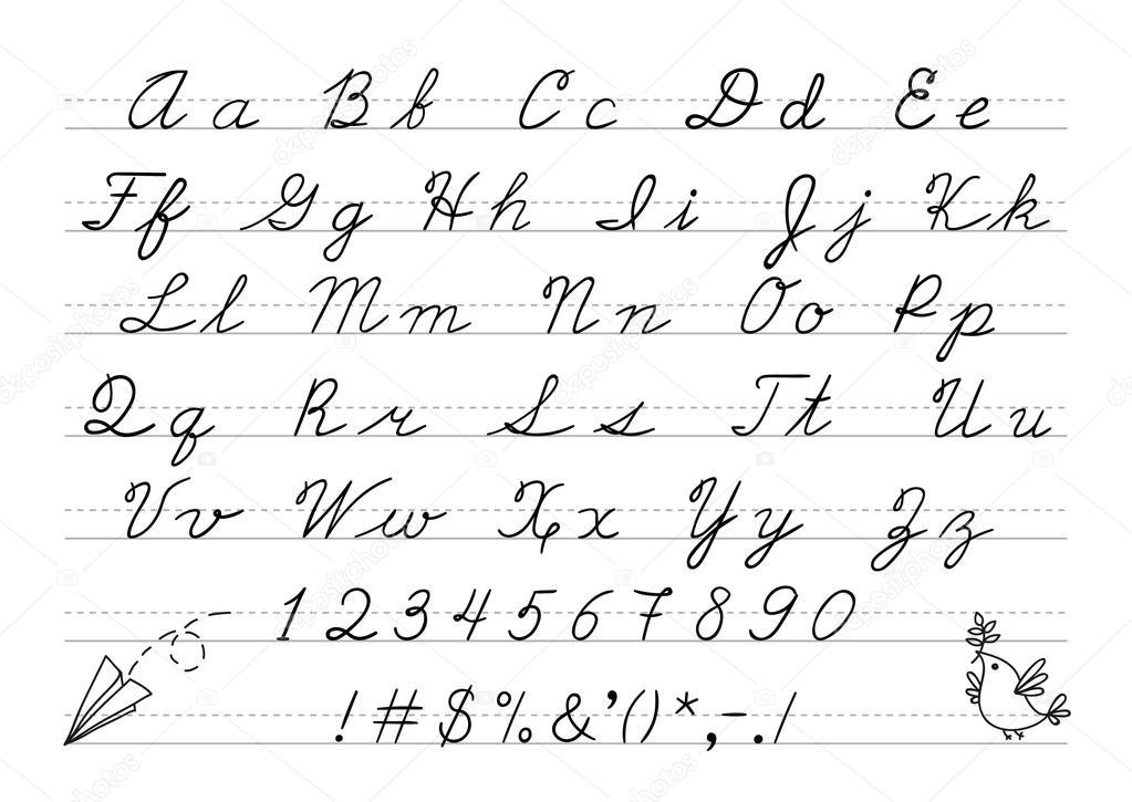 Número e mão desenhada maiúscula alfabeto caligrafia