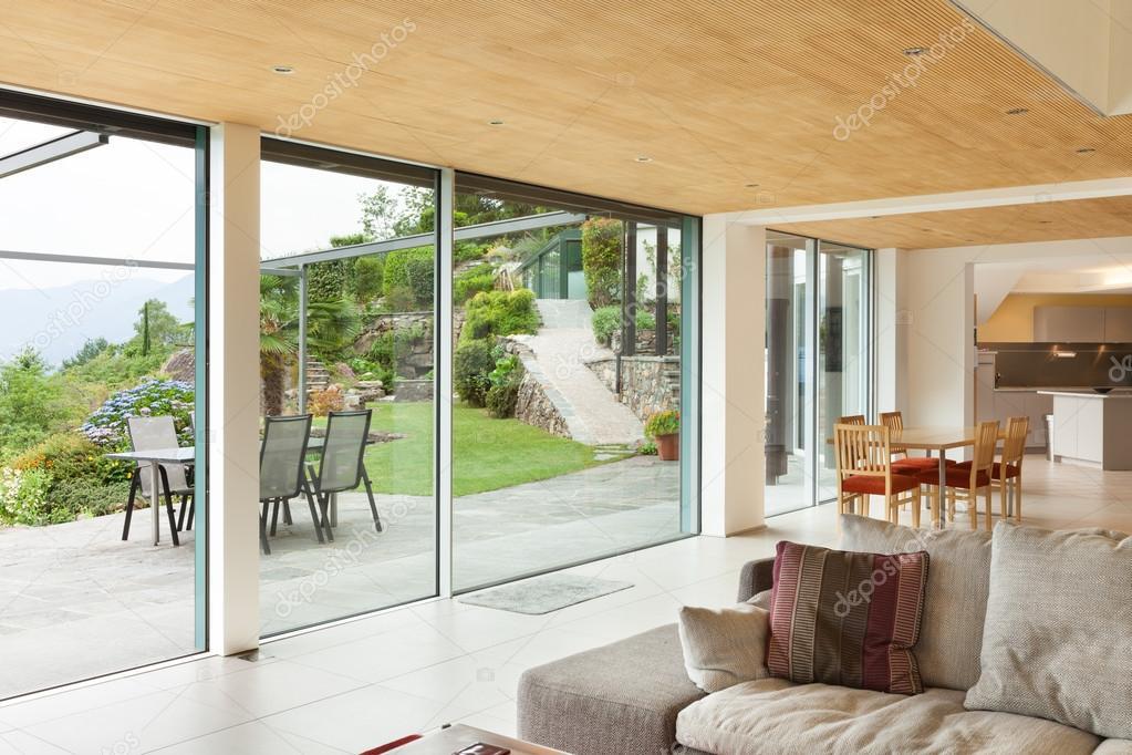 camera interna soggiorno veranda vista  Foto Stock