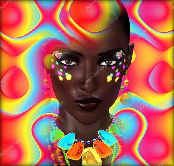 Belle Femme Noire Sur Fond Color Digital Art Abstrait Tim0920 #62925803