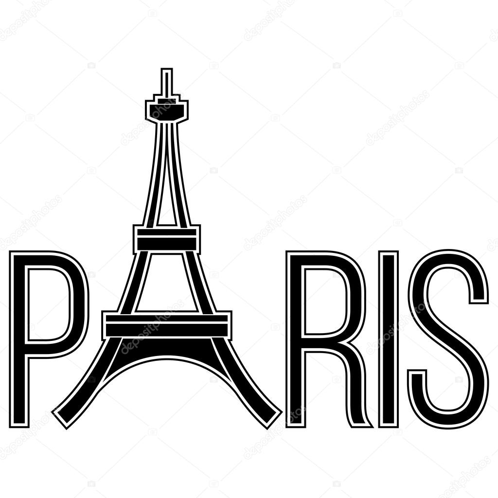 Paris Word With Eiffel Tower