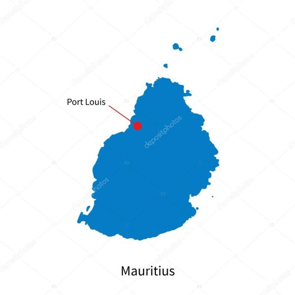 Detailed vector map of Mauritius and capital city Port Louis Stock Vector