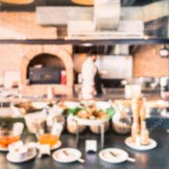 Western Kitchen Table Stainless Steel Shelf 模糊的西餐厨房与食物准备 图库照片 C Surasaki 77542944