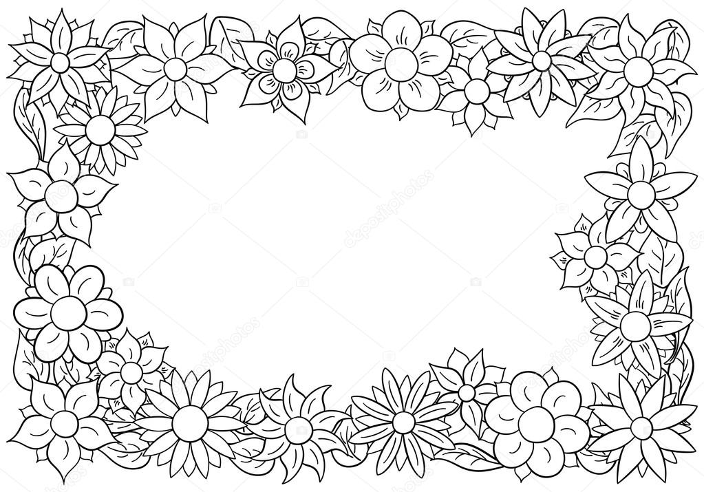 flower border for coloring  Stock Vector  antimartina