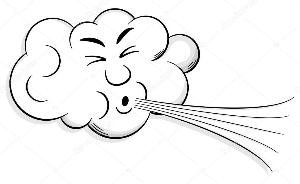 dessin animé nuage souffle vent — Image vectorielle
