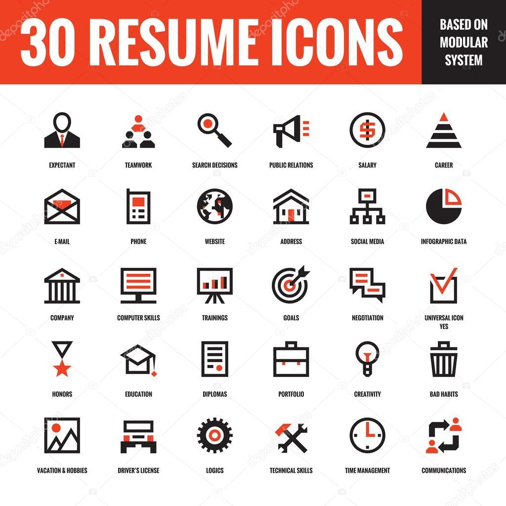 30 Lebenslauf kreative VektorIcons die auf der Grundlage von Baukastensystem Satz von 30