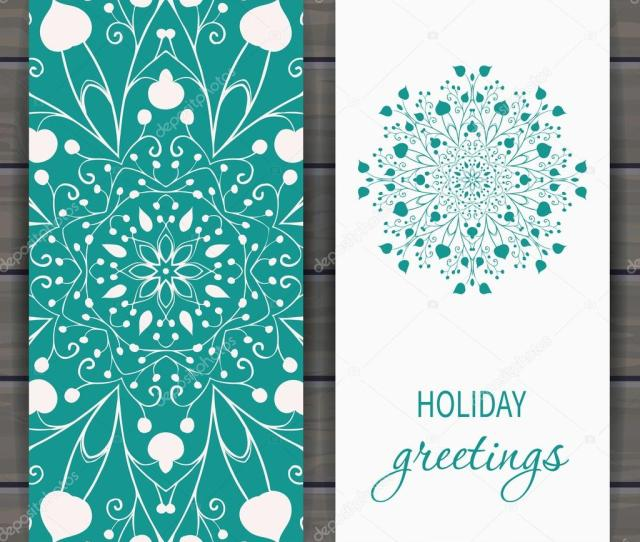 Christmas And New Years Greeting Card With Floral Snowflake Hand Drawn Design For Greeting Cards Fabric Wrapping Paper Invitation Stationery