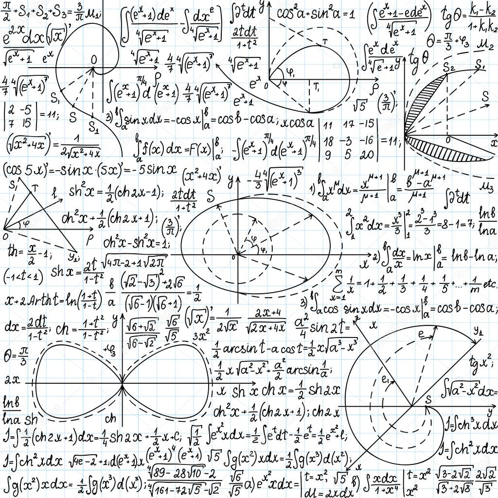 Mathematical vector seamless pattern with formulas, plots