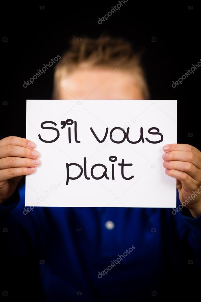 S'il-vous-plaît : s'il-vous-plaît, Child, Holding, French, Words, Plait, Please, Stock, Photo,, Image, Bigandt, #71714459