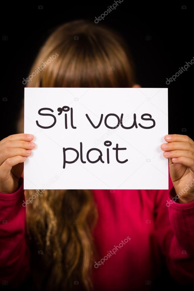 S'il-vous-plaît : s'il-vous-plaît, Child, Holding, French, Words, Plait, Please, Stock, Photo,, Image, Bigandt, #85020552