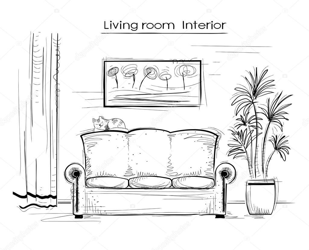 Sketchy interior illustration of living room.Vector hand