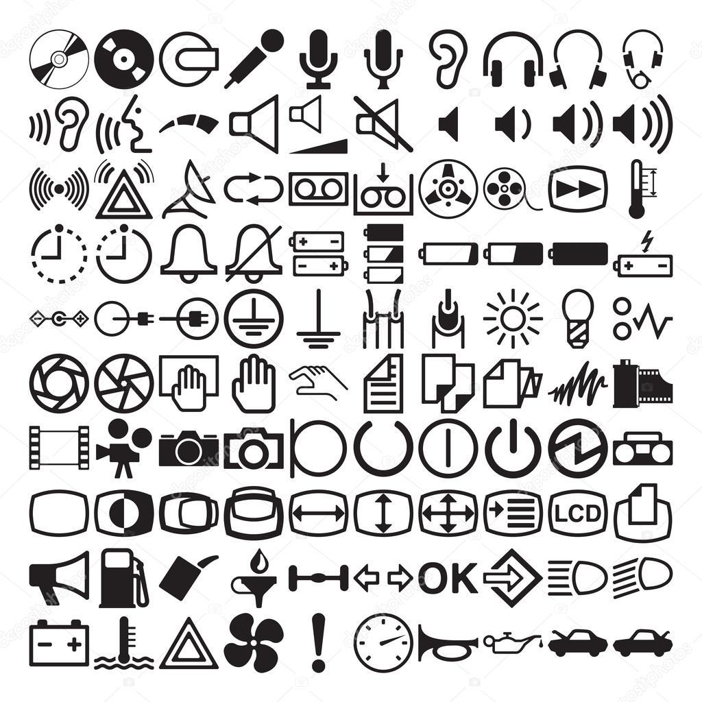 Simbolos E Icones Do Painel De Controle