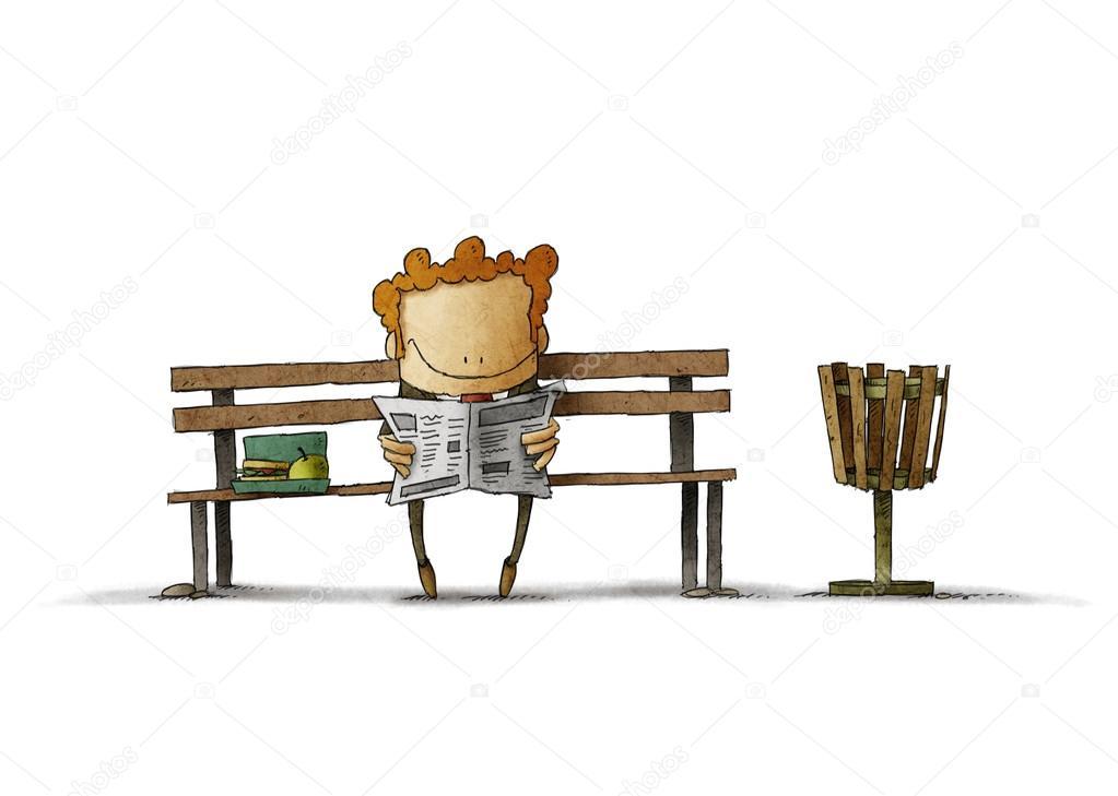 kitchen banquettes for sale corner sinks 在长椅上读报的红发商人 图库照片 c jrcasas 116597194