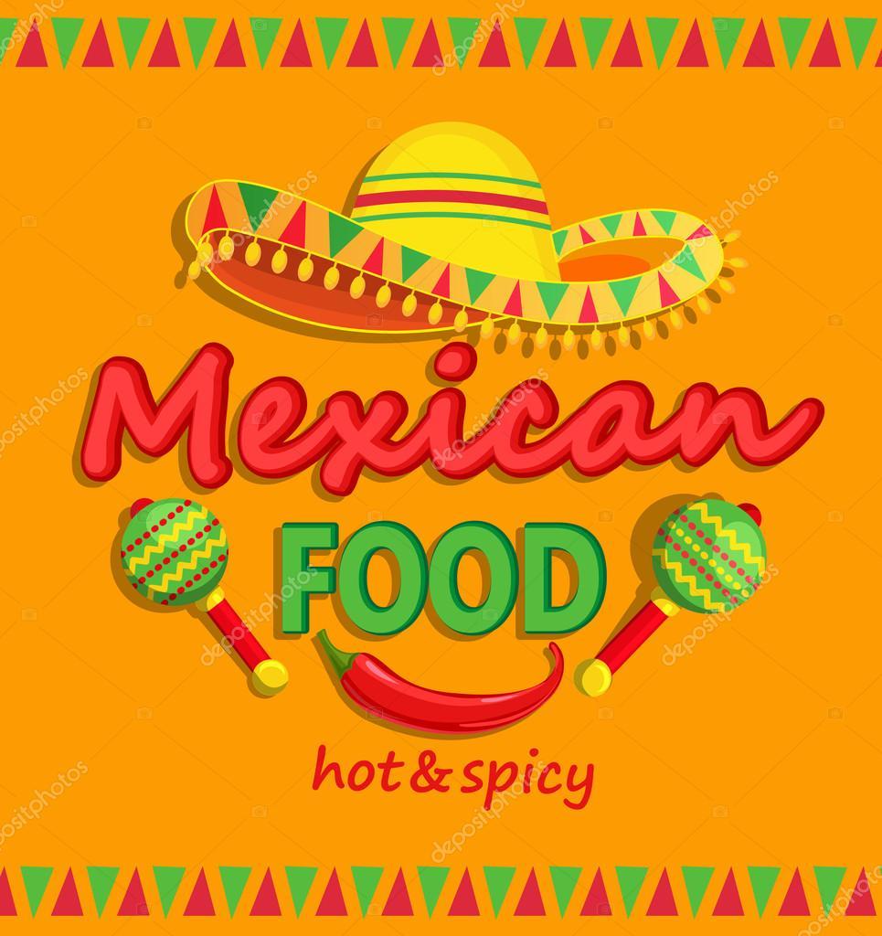 Flyercomida mexicana com o tradicional picante  Vetores de Stock  tandaV 116689350