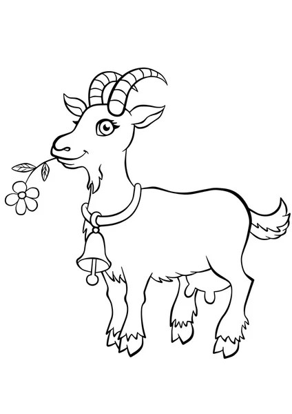 Coloring pages. Farm animals. Cute goat. — Stock Vector
