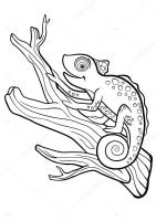 Coloring pages. Wild animals. Little cute chameleon sits ...