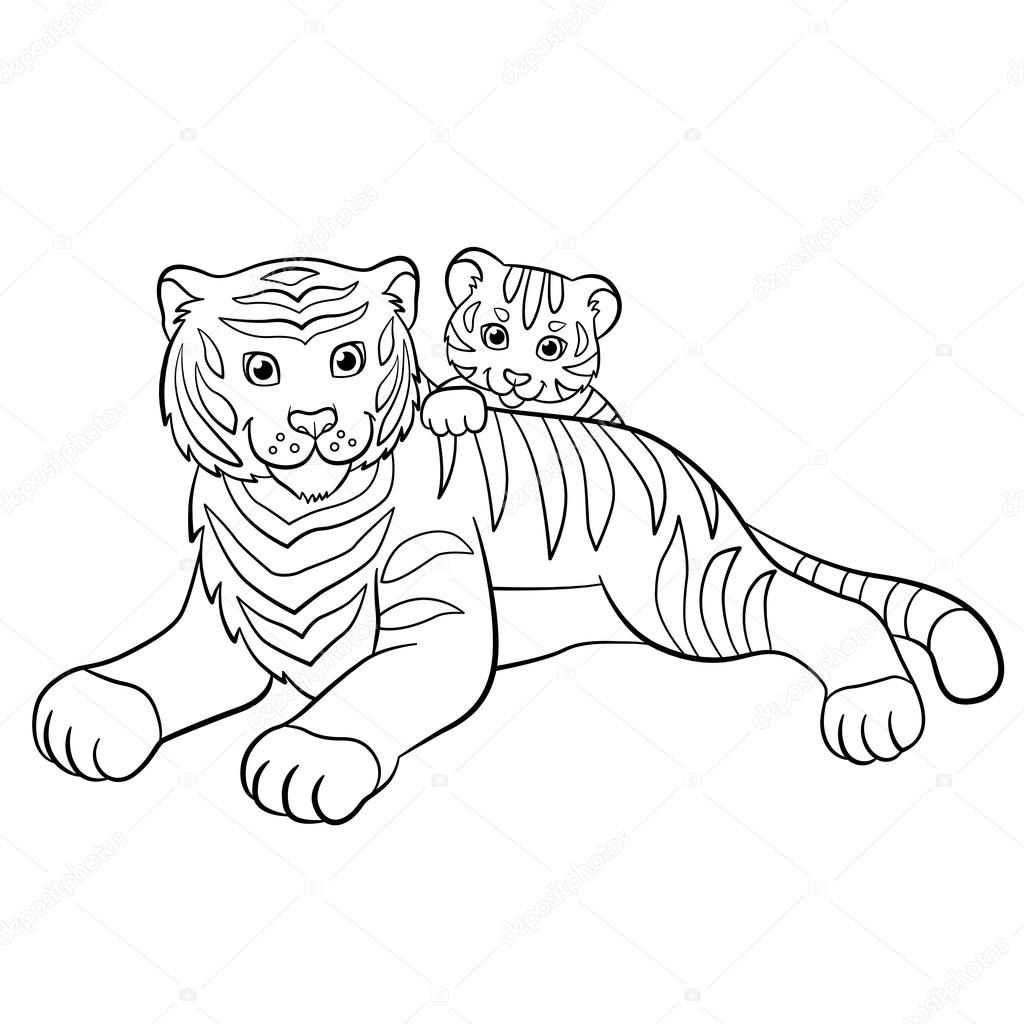 Coloring pages. Wild animals. Smiling mother tiger with