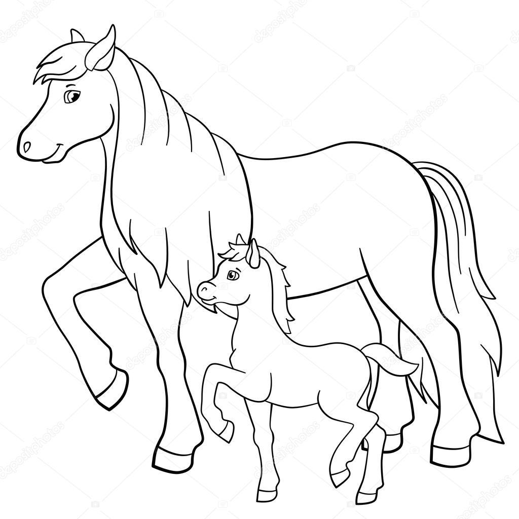 Disegni da colorare. Animali da fattoria. Madre cavallo