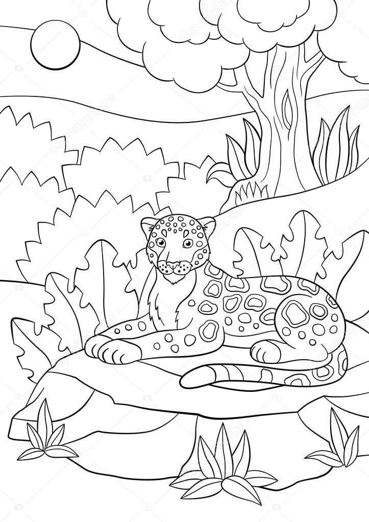 Disegni da colorare. Giaguaro maculato sveglio nella