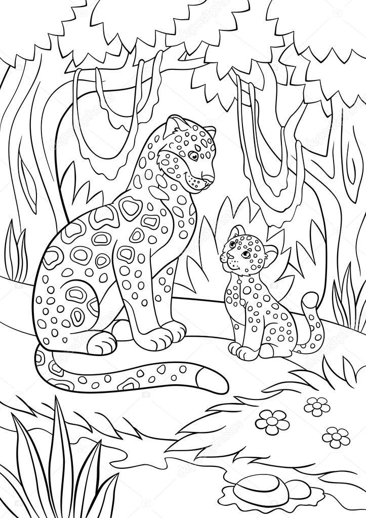 Färgläggning sidor. Mamma jaguar med hennes unge — Stock