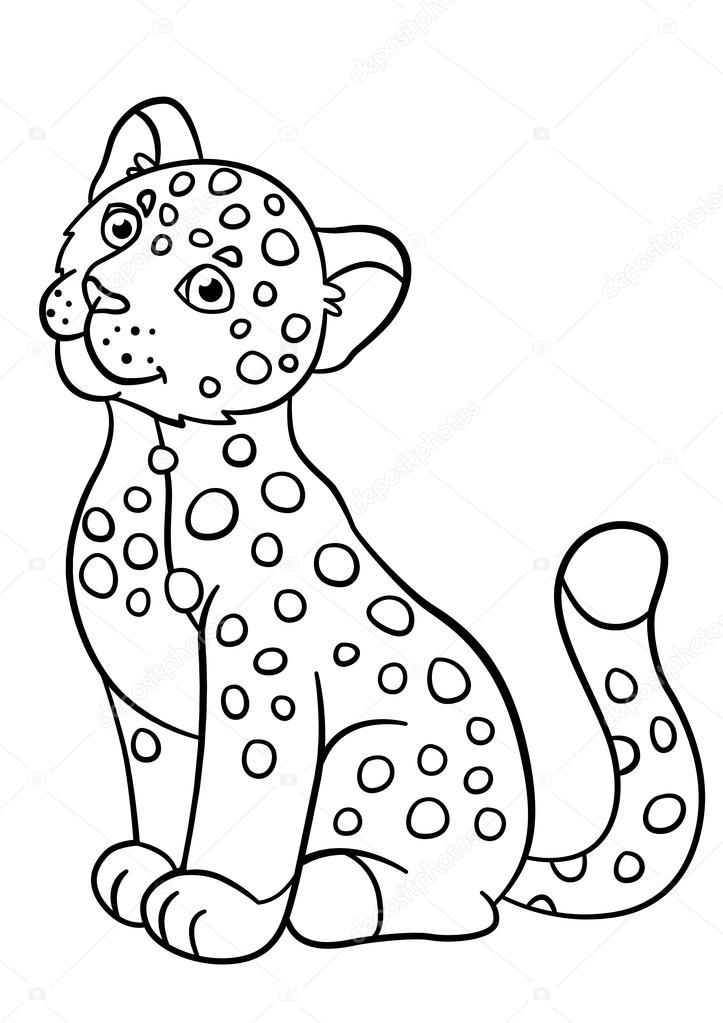 Dibujos para colorear. Sonrisas de jaguar de lindo bebé