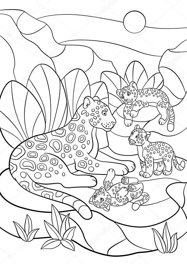 Dibujos para colorear. Madre jaguar con sus pequeños