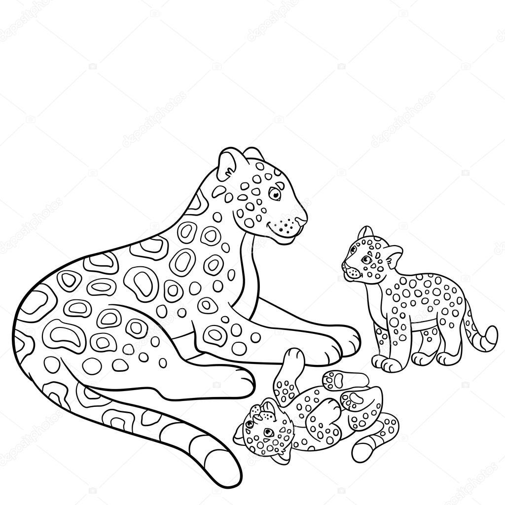 Disegni Da Colorare Jaguar Madre Con I Suoi Cuccioli