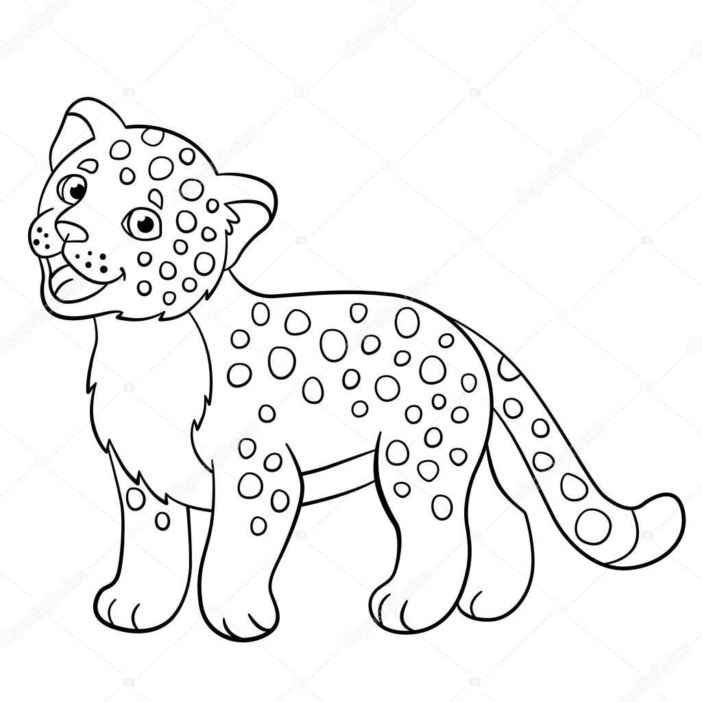 Farglaggning Sidor Liten Sot Baby Jaguar Leenden