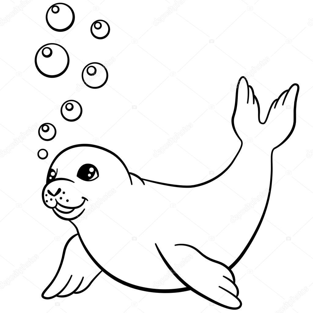 Disegni da colorare. Piccolo carino cucciolo di Foca nuota