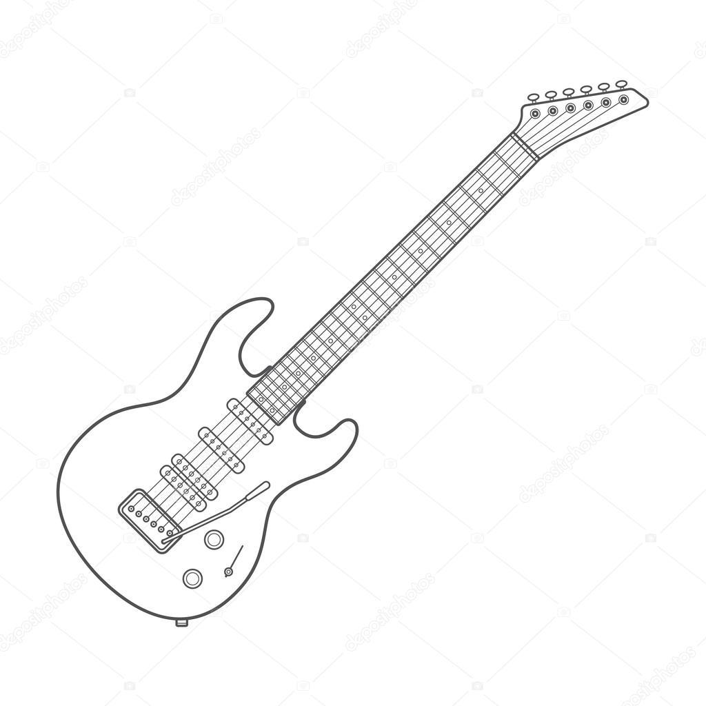Dark Contour Electric Guitar Technical Illustration
