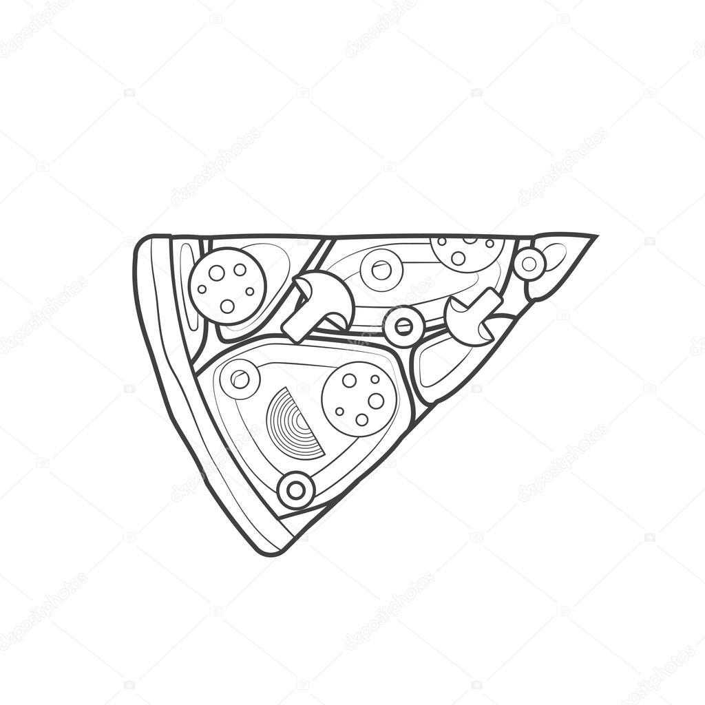 Zarys Fast Food Kawa Ek Pizzy Ikona Wektor