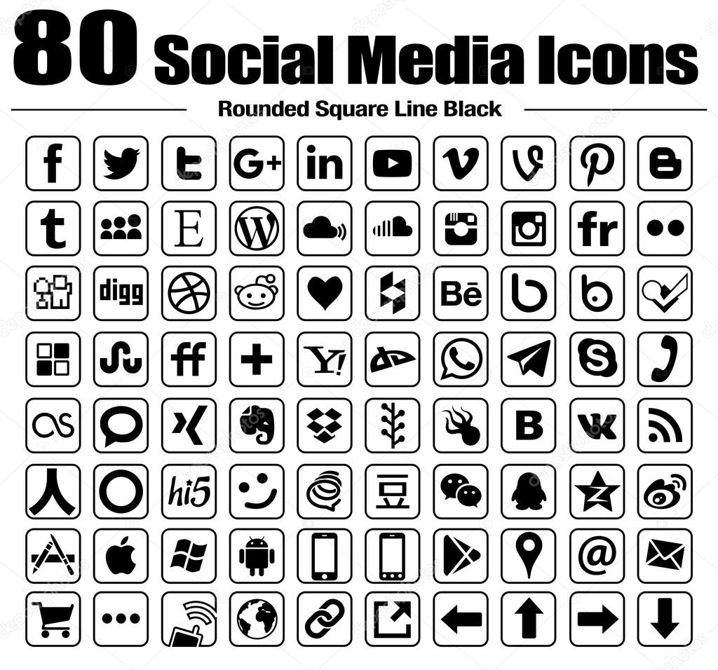 Vector Line Rounded Square social media icons white