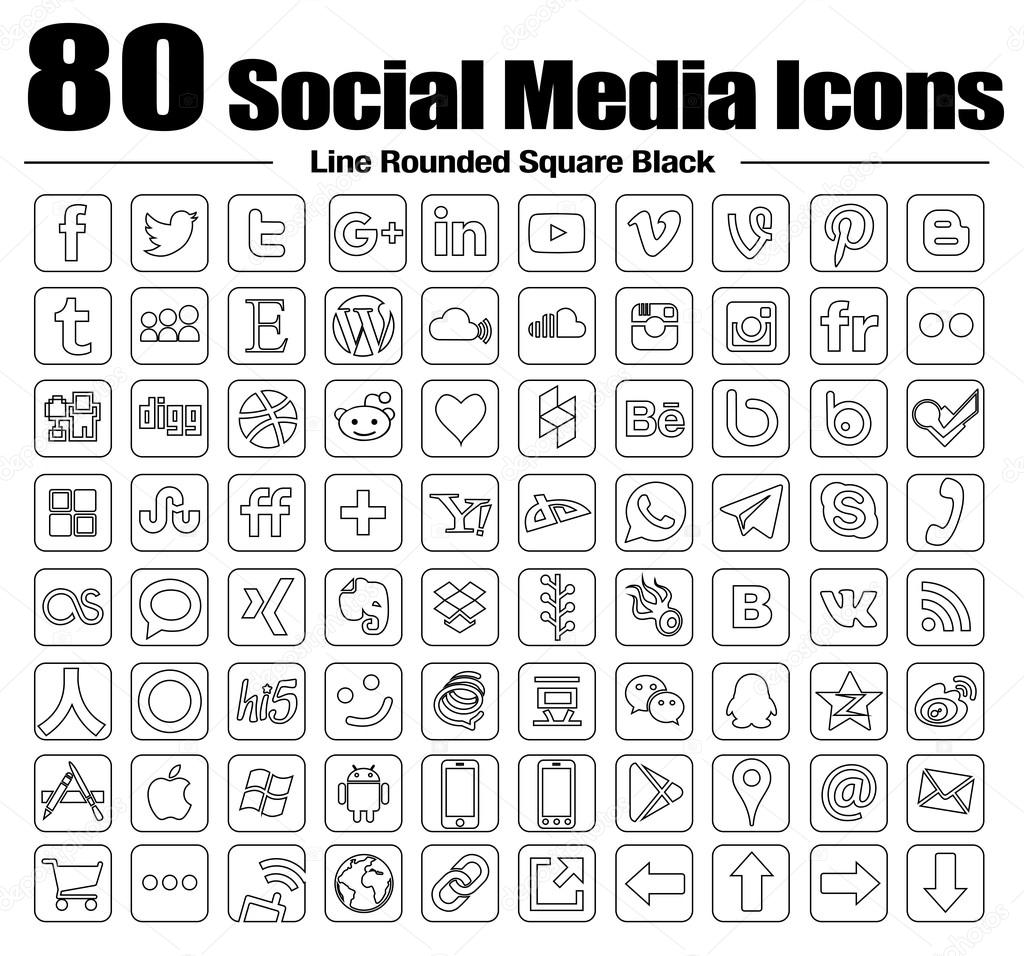 Vector Line rounded square Social Media Icons