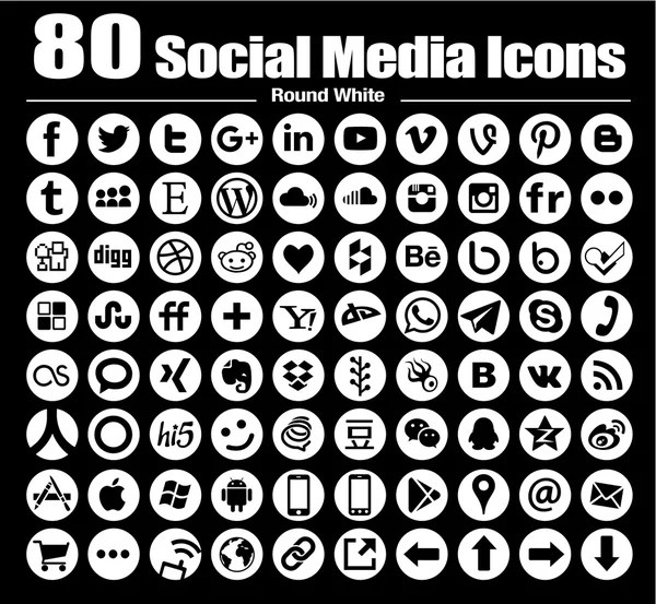 Vector round social media icons new set