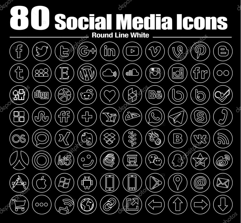 Vector Line round Social Media Icons white