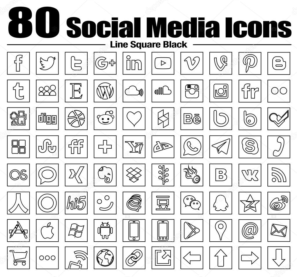 Vector Square Line Social Media Icons