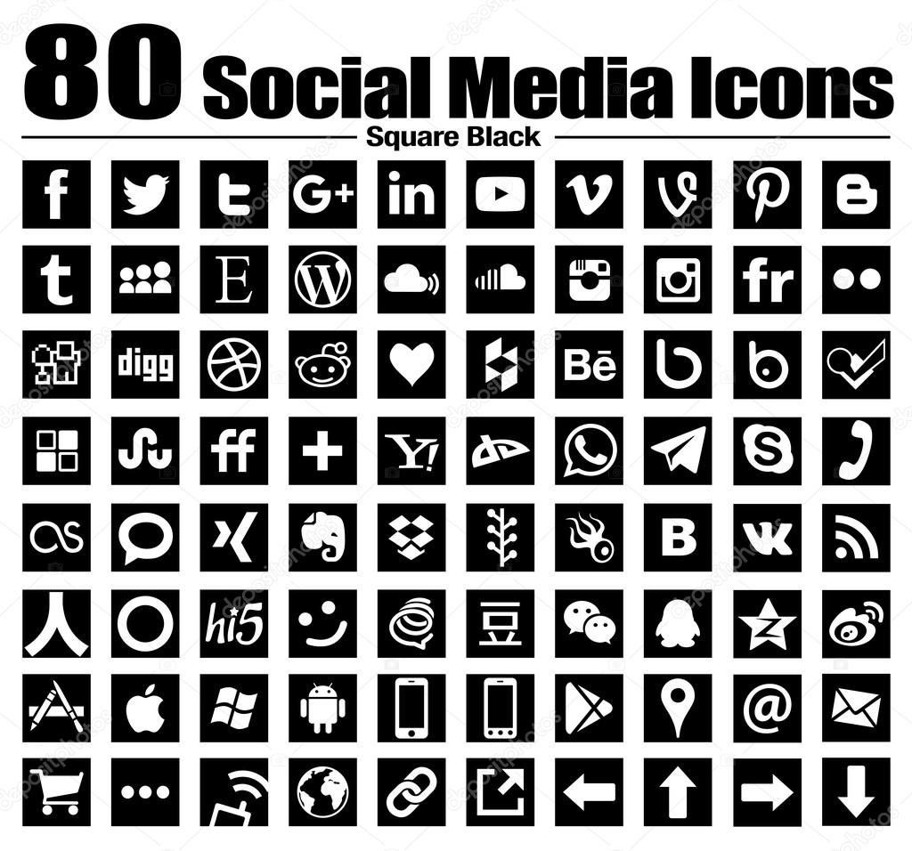 vector square social media icons white