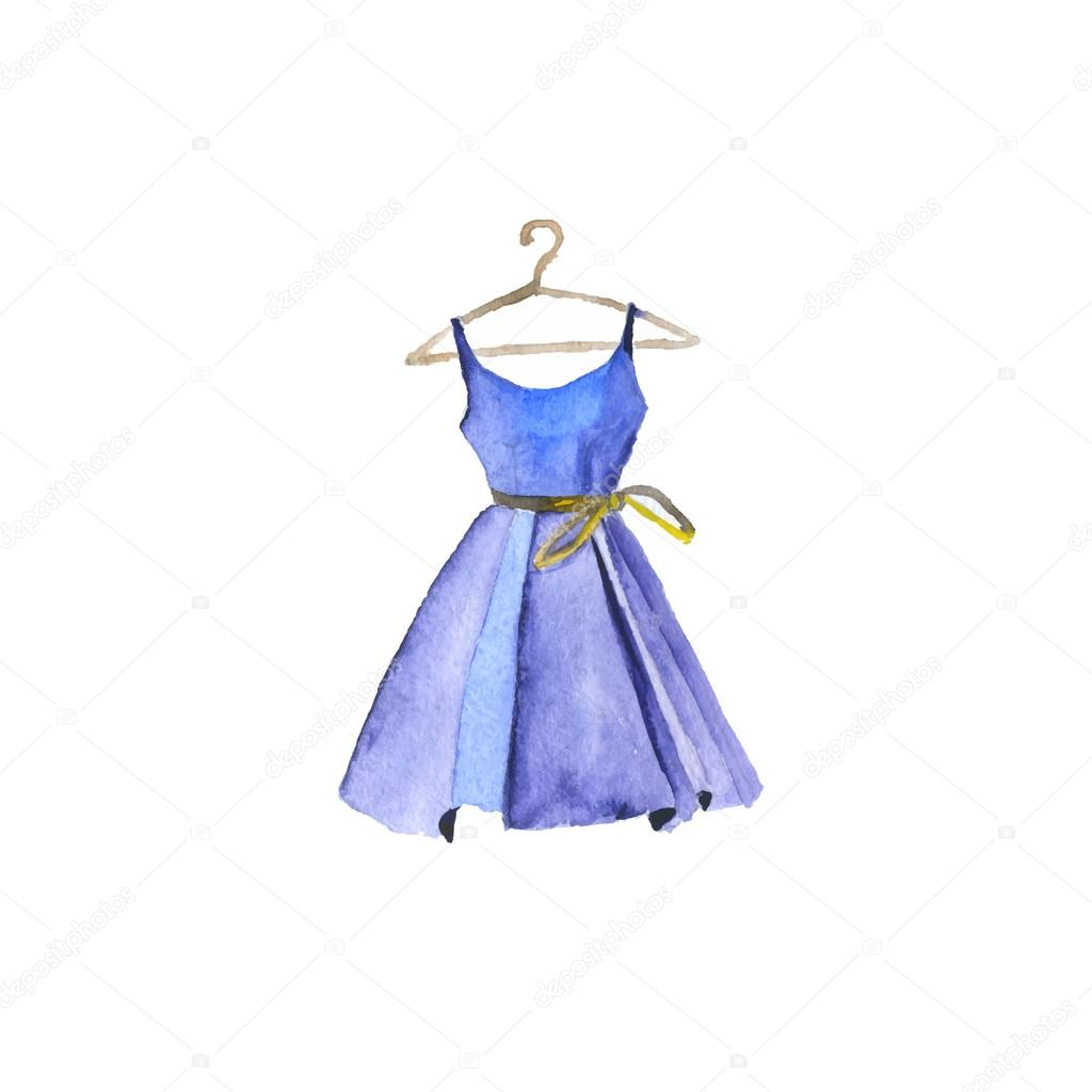 Cute Stitch On Side Wallpaper Watercolor Painted Dress Vector Illustration Stock