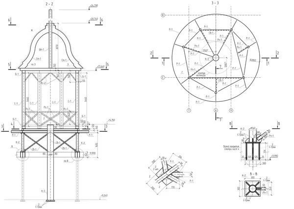 Machine-building drawing. Impeller. Vector illustration