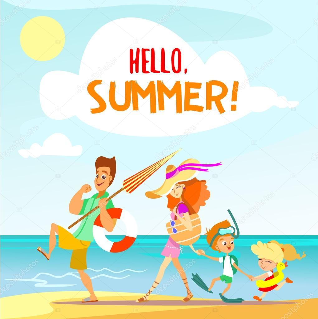 Family Enjoying Summer Vacation Stock Vector C Funnyclay 103129980