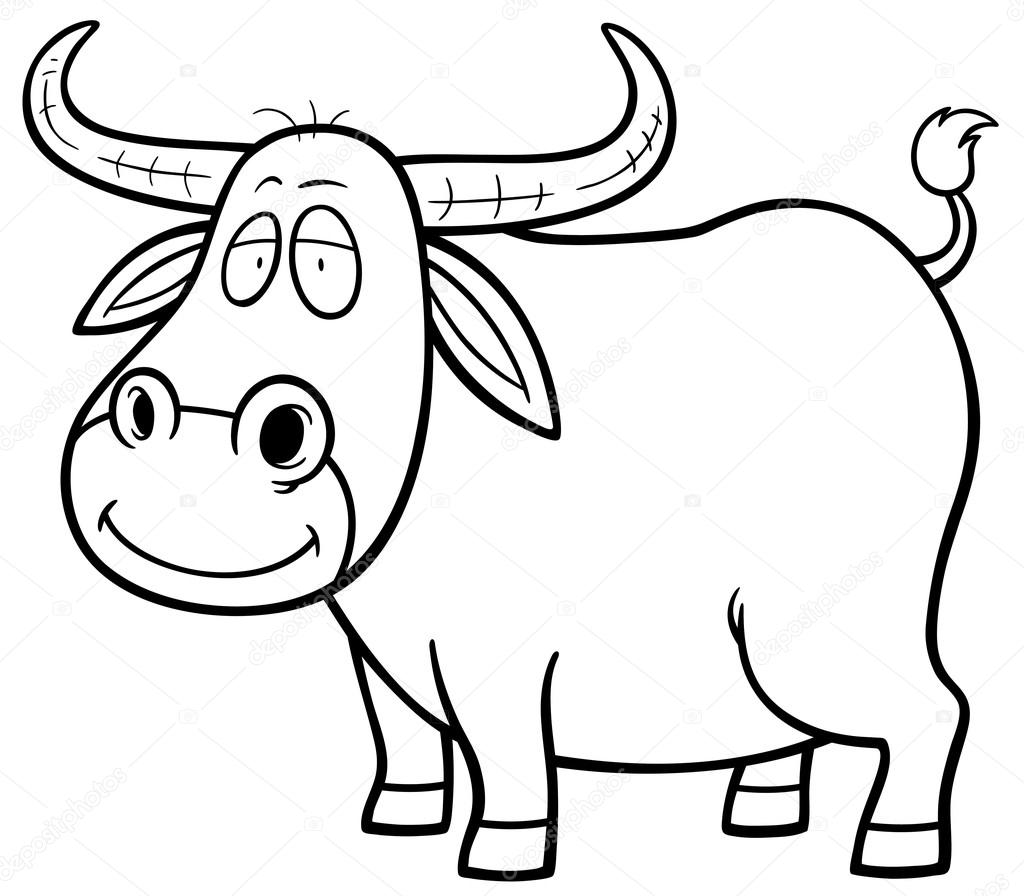 Buffalo Cartoon Outline