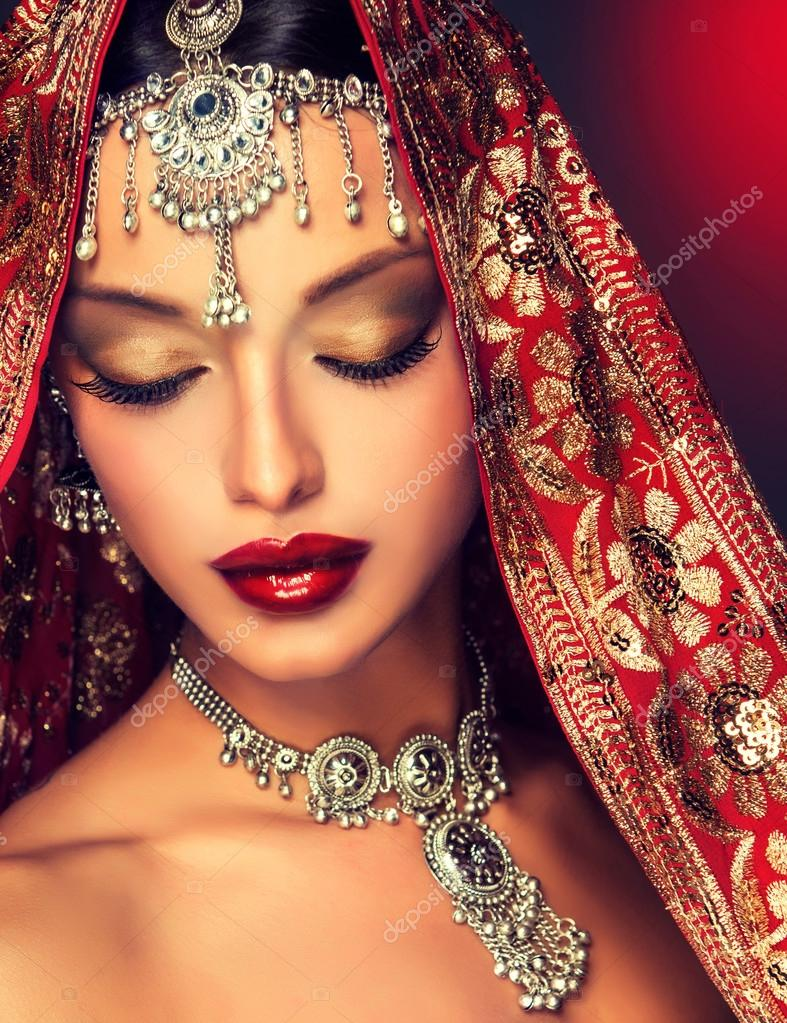Indian Woman Portrait With Jewelry Stock Photo