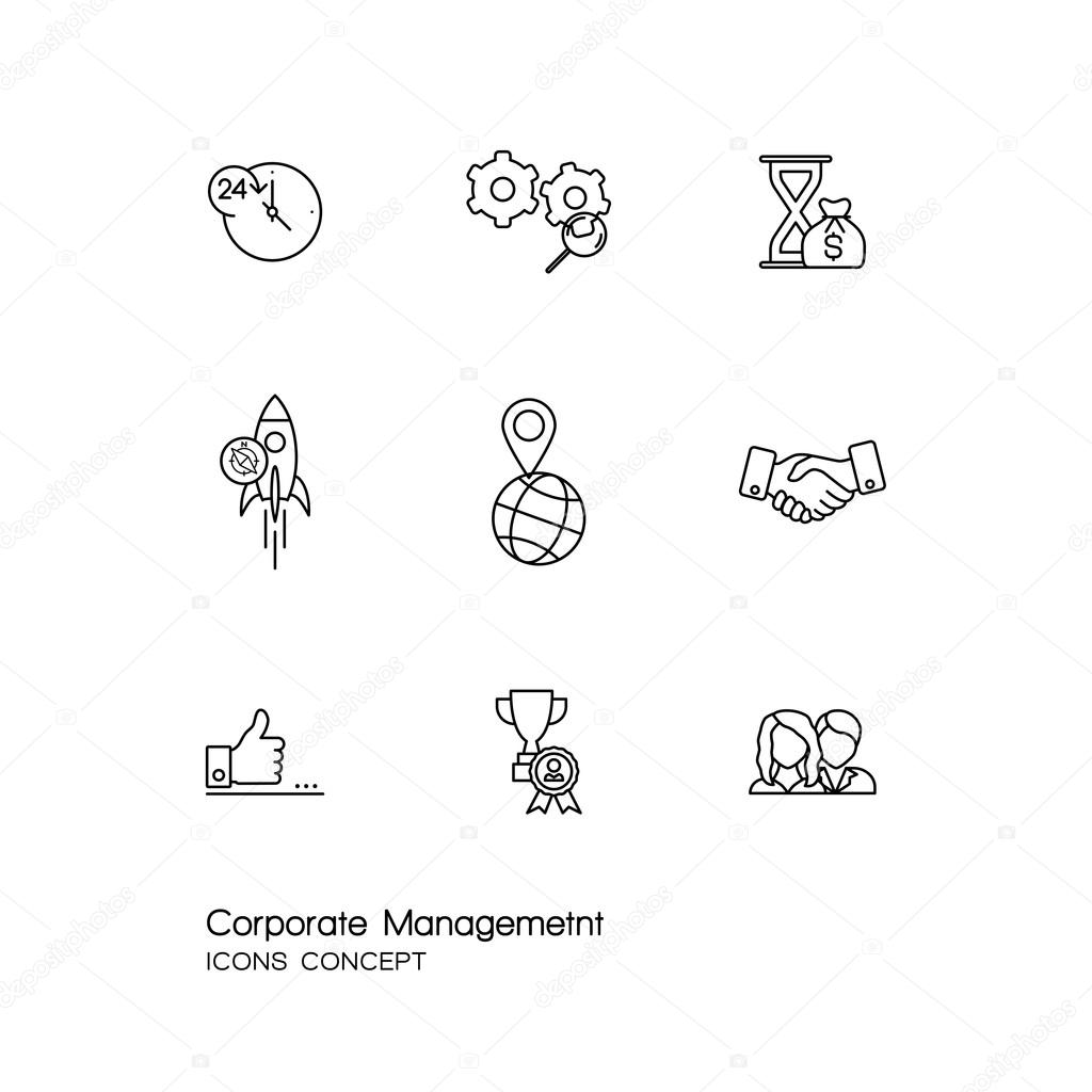 Modern thin line icons set of corporate management and