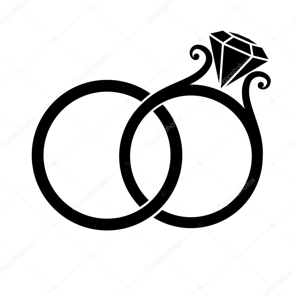 Snubní prsteny silueta — Stock Vektor © Simeon.VD #83138288