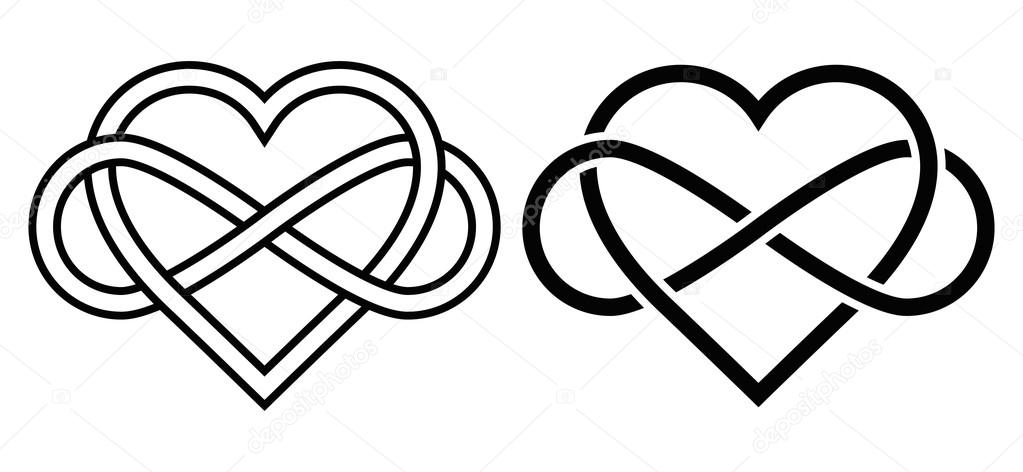 Download Intertwined Heart with The Sign of Infinity — Stock Vector ...