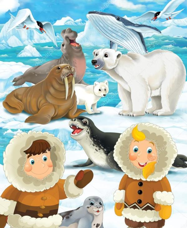 Cartoon Winter Scene With Eskimos - Illustration Children Stock Agaes8080