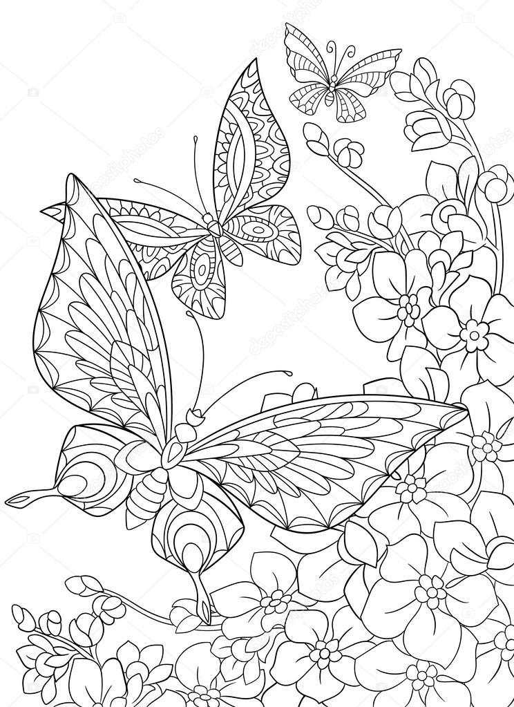 Zentangle stylisés papillons et fleurs de sakura — Image