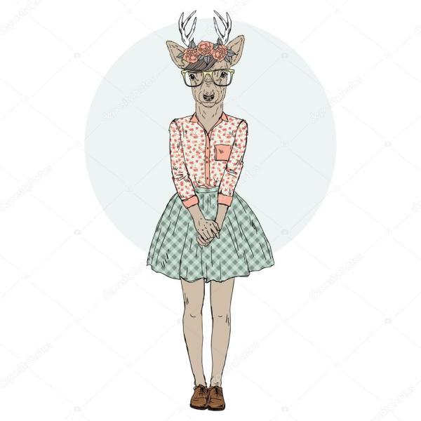 Cute Deer Girl Hipster. Stock Vector Olga.angelloz #107782374