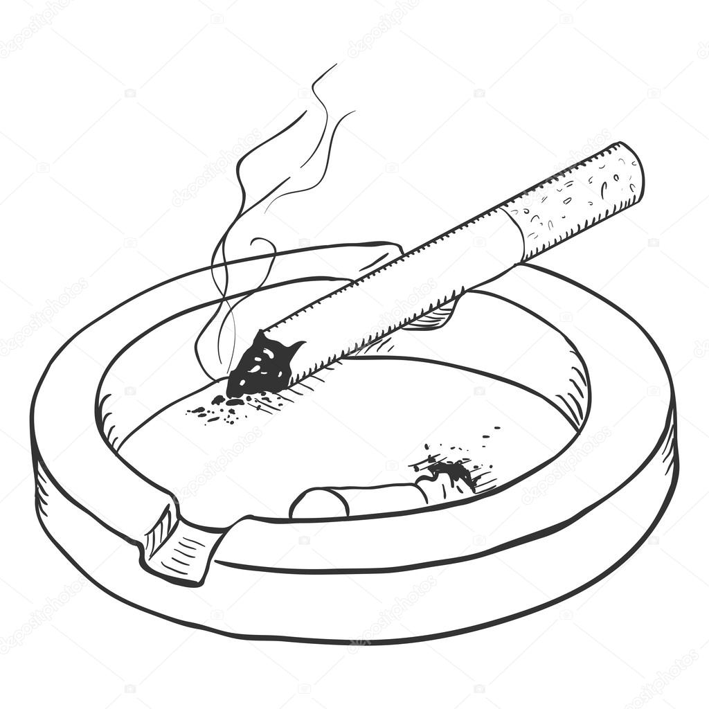 Ashtray with Smoking Cigarette — Stock Vector © nikiteev