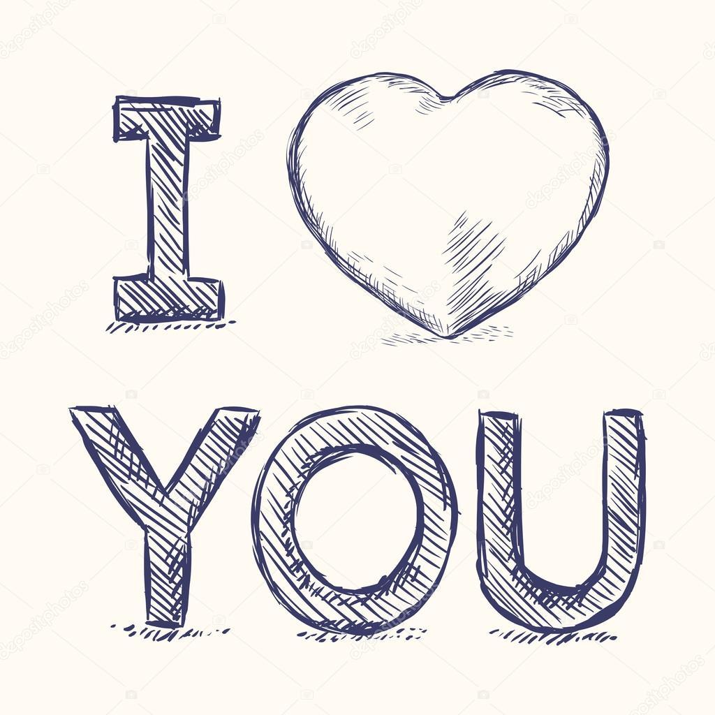 Download Eu te amo Esboço ilustração — Vetor de Stock © nikiteev ...