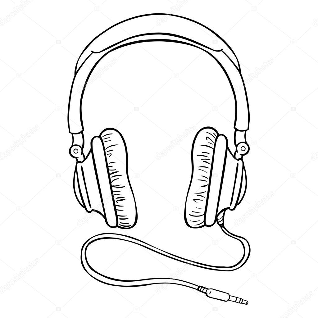 Circumaural Headphones with Wire — Stock Vector © nikiteev